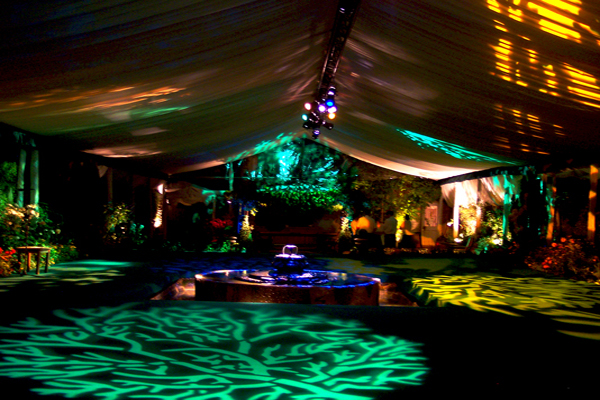 Reception tent with gobo lighting