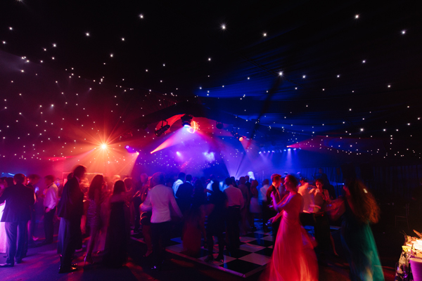 Dancefloor lighting at black tie event