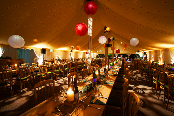 Paper lanterns and rustic dining
