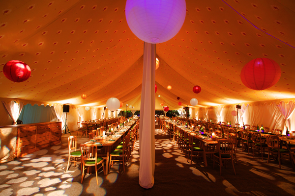 Paper lanterns and gobo lighting