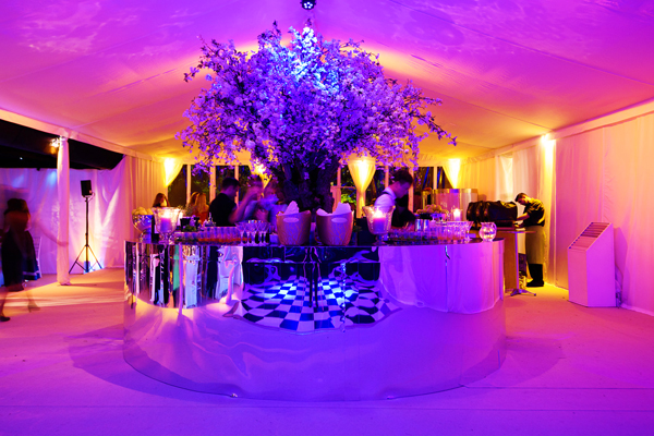 Pink lighting to circular mirrored bar