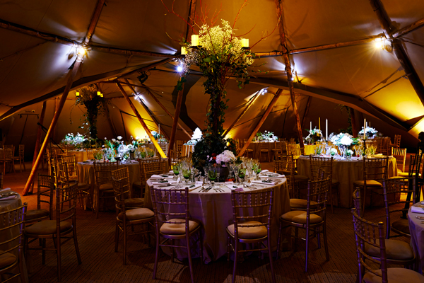 Lighting to dining tables in tipi